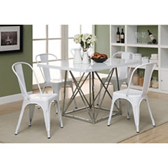 White Modern Bistro Dining Chairs, Set of 2