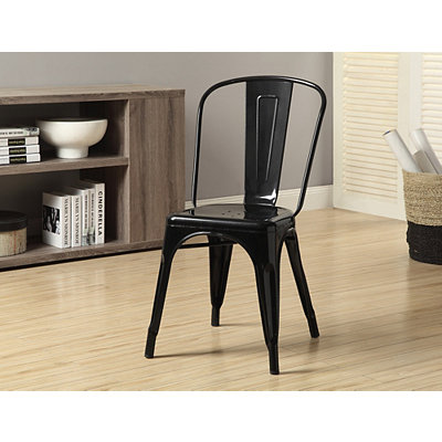 Black Modern Bistro Dining Chairs, Set of 2