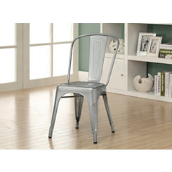Silver Modern Bistro Dining Chairs, Set of 2