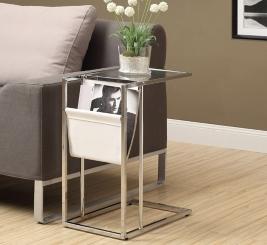 White Chrome C-Table with Magazine Rack