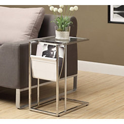 White Chrome C-Table with Magazine Rack