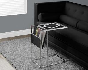 Black Chrome C-Table with Magazine Rack