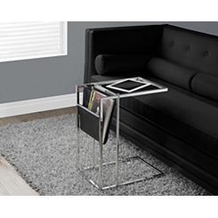 Black Chrome C-Table with Magazine Rack