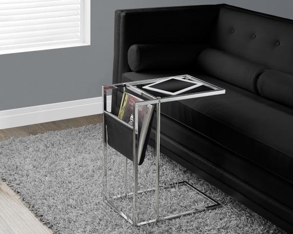 Black Chrome C Table With Magazine Rack
