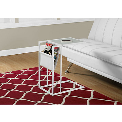 White C-Table with Magazine Rack
