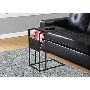 Black C-Table with Magazine Rack
