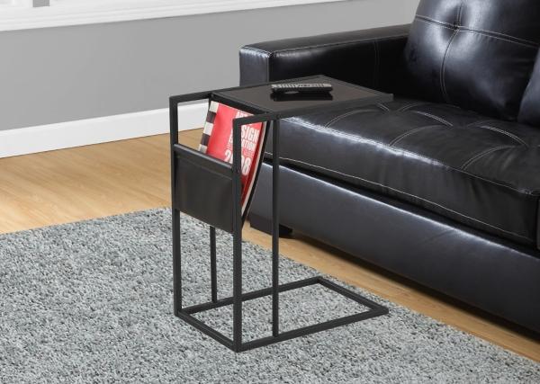 Black C Table With Magazine Rack