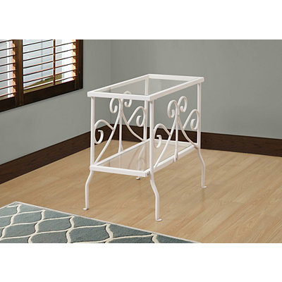White Scrolled Long Accent Table