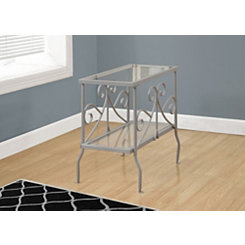 Silver Scrolled Long Accent Table