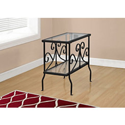 Black Scrolled Long Accent Table