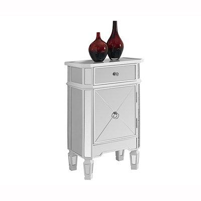 Satin White Mirror Modern Side Table