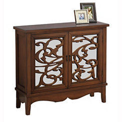 Dark Walnut Scrolled Floral Cabinet