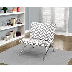 Gray Chevron Modern Accent Chair