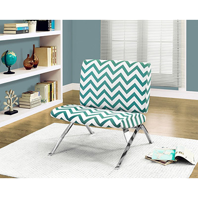 Teal Chevron Modern Accent Chair