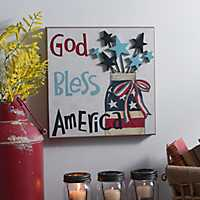 God Bless America Mason Jar Wall Plaque