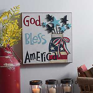 God Bless America Mason Jar Wall Plaque