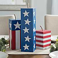 Red, White, and Blue Wooden Firecrackers, Set of 3