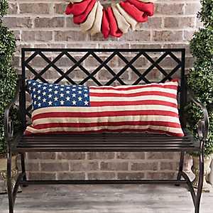 American Flag Bench Pillow
