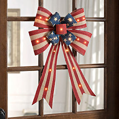 Stars and Stripes Pre-Lit Burlap Bow
