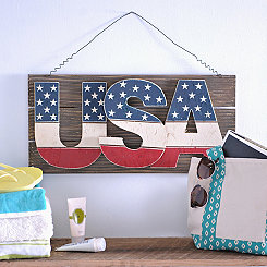 USA Stars and Stripes Hanging Plaque