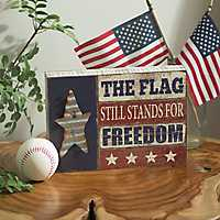 The Flag Stands For Freedom Word Block
