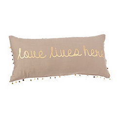 Gold Love Lives Here Accent Pillow