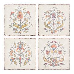 Floral Tile Outdoor Canvas Art Prints