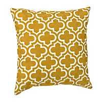 Yellow and White Quatrefoil Pillow
