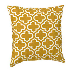 Yellow and White Quatrefoil Pillow