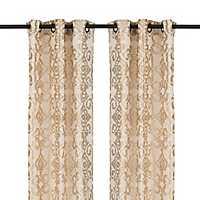 Gold Damask Ikat Curtain Panel Set, 84 in.