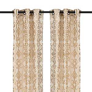 Gold Damask Ikat Curtain Panel Set, 84 in.