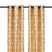 Yellow Damask Ikat Curtain Panel Set, 84 in.