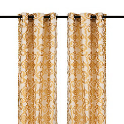 Yellow Damask Ikat Curtain Panel Set, 84 in.