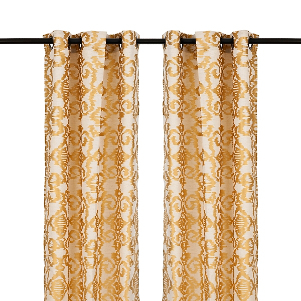 yellow damask ikat curtain panel set 84 in