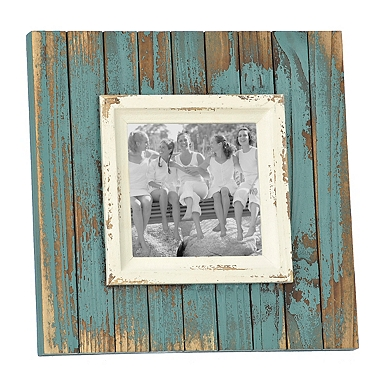 distressed aqua picture frame 5x5