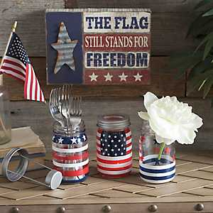 Patriotic Mason Jar, Set of 3