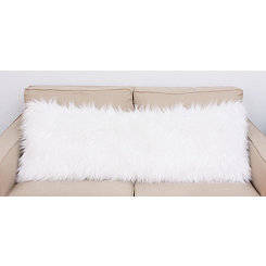 Bright White Keller Faux Fur Body Pillow