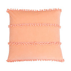 Orange Velvet Pom Pillow