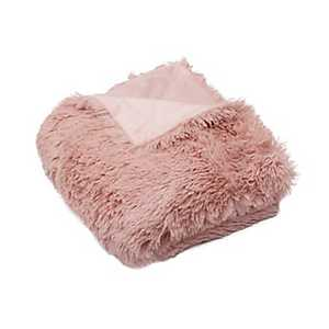 Pink Faux Fur Throw Blanket