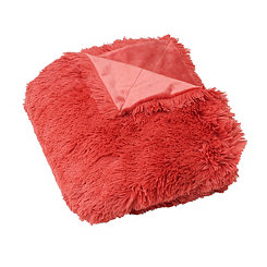 Coral Faux Fur Throw Blanket