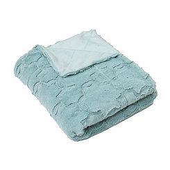 Blue Quatrefoil Faux Fur Throw Blanket