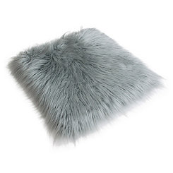 Silver Keller Faux Fur Seat Cushion