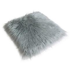 Silver Keller Faux Fur Seat Cushion