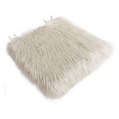 Oatmeal Keller Faux Fur Seat Cushion