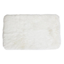 Bright White Keller Faux Fur Scatter Rug