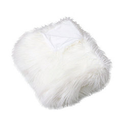 Bright White Keller Faux Fur Throw Blanket