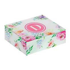 Floral Monogram D Jewelry Box