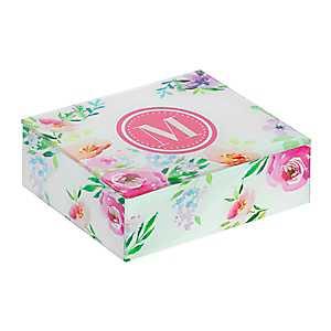 Floral Monogram M Jewelry Box
