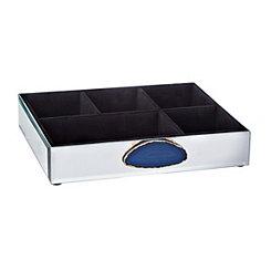 Blue Agate Glass Jewelry Tray