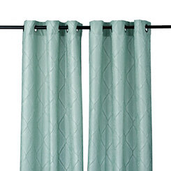 Aqua Memphis Curtain Panel Set, 96 in.